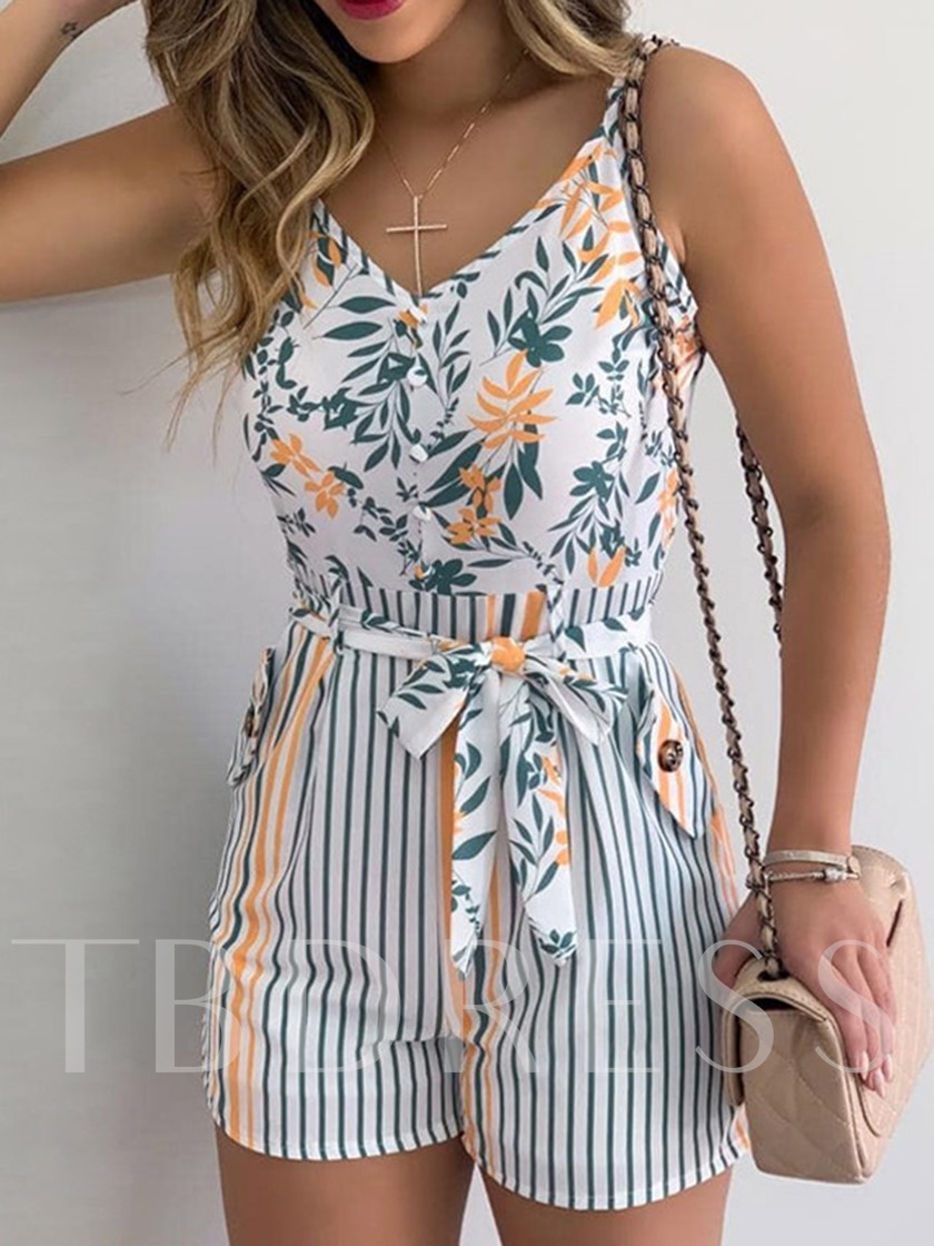 Floral Casual Shorts Print Skinny Women's Rompers