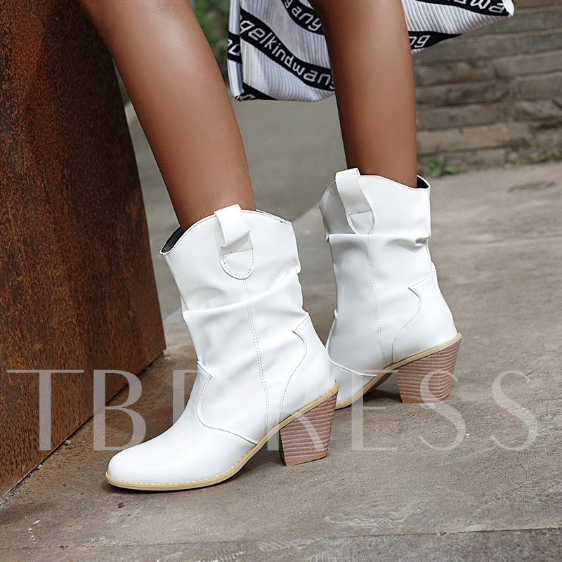 Pointed Toe Slip-On Chunky Heel Plain Casual Boots
