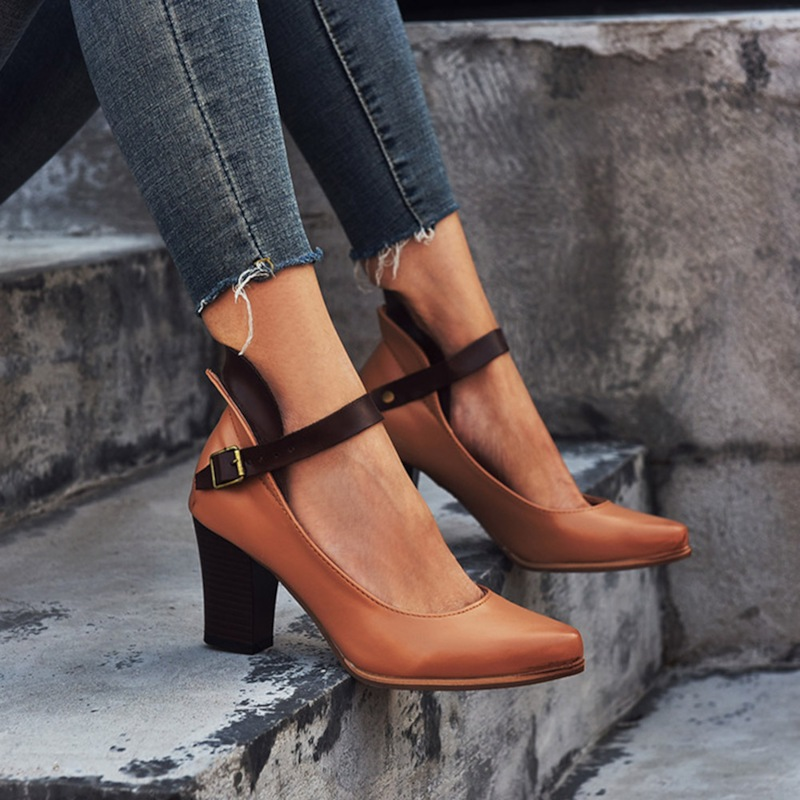 Ladies High Heel Shoes, Buckle Pointed Toe Shoes,  Buckle Chunky Heel Shoes