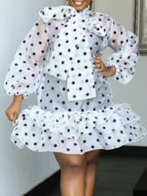 Print Bow Collar Above Knee Nine Points Sleeve Pullover Women's Dress