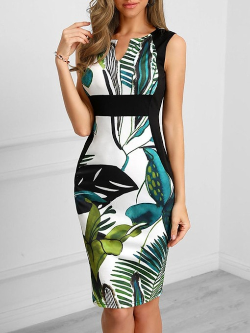 Knee-Length Print Sleeveless Regular Women's Dress