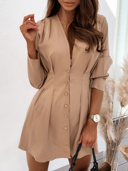 V-Neck Above Knee Long Sleeve Pleated High Waist Women's Dress