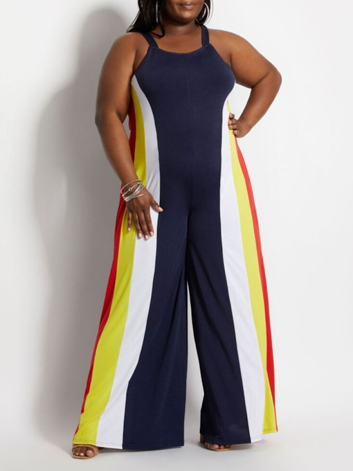 Plus Size Patchwork Western Color Block Full Length Slim Women's Jumpsuit