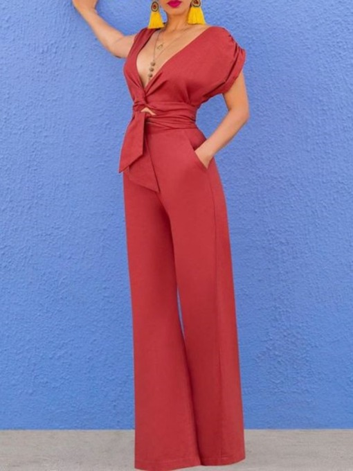 Fashion Sexy Full Length Sexy Plain Slim Women's Jumpsuit
