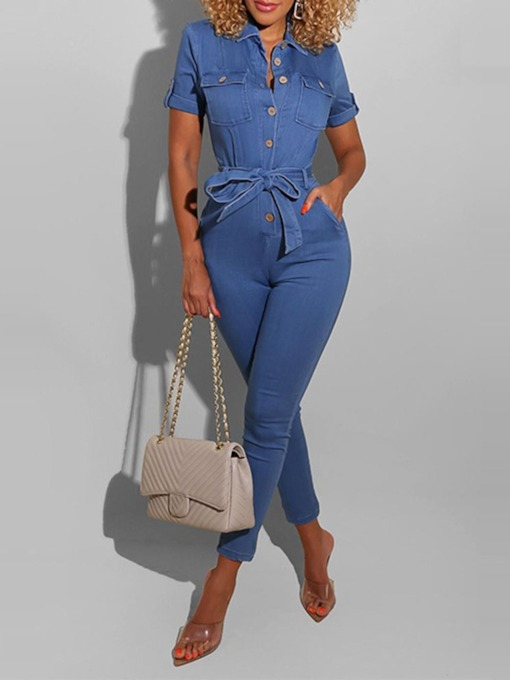 Ankle Length Plain Fashion Pocket Slim Women's Jumpsuit