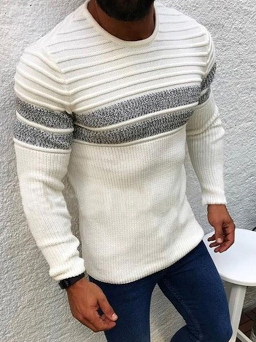 Color Block Round Neck Standard Slim Men's Sweater
