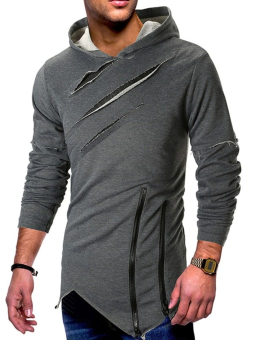 Asymmetric Plain Pullover Slim Men's Hoodies