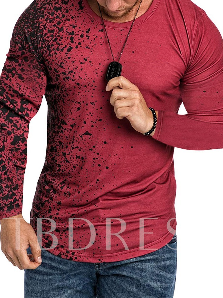 Long Sleeves Print Casual Round Neck Pullover Men's T-shirt