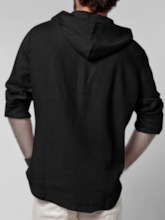 Plain Hooded Fall Men's Shirt