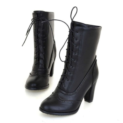 Round Toe Lace-Up Front Plain Western Boots