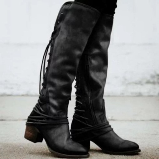 Plain Round Toe Side Zipper Cotton Boots