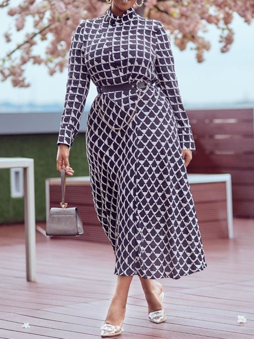 Print Long Sleeve Stand Collar Mid-Calf A-Line Women's Dress