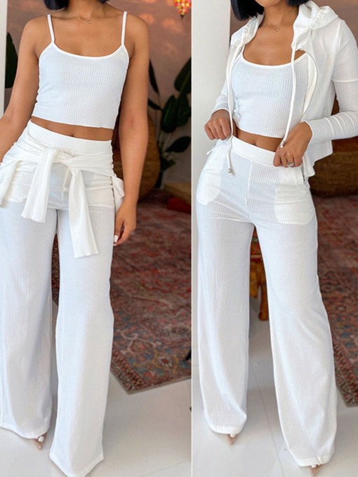Pants Casual Pocket Plain Straight Women's Two Piece Sets