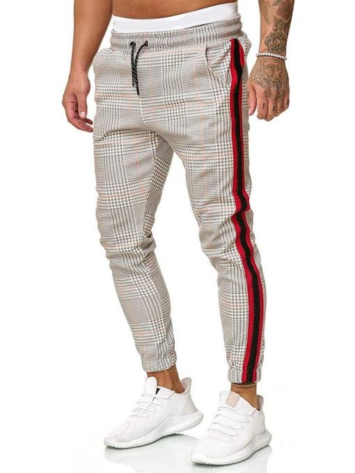 Pencil Pants Plaid Patchwork Lace-Up Men's Casual Pants
