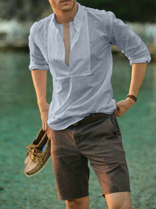 Casual Plain Fall Men's Shirt