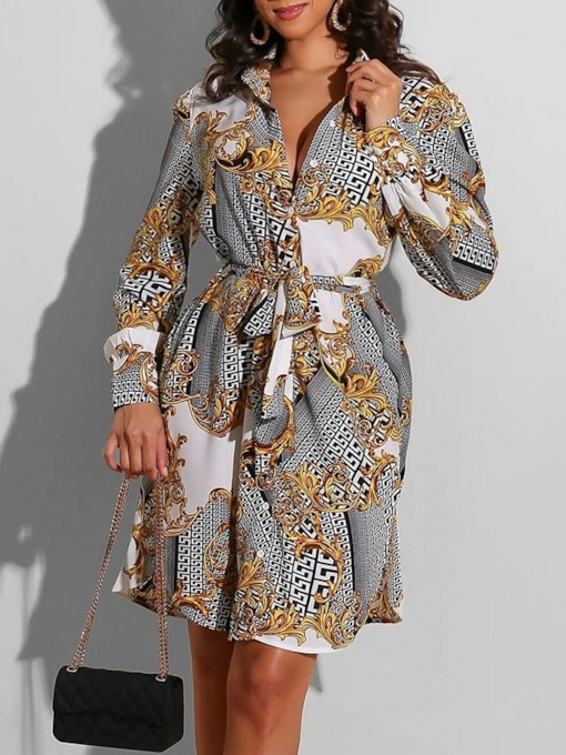 Above Knee Long Sleeve Lapel Print Regular Women's Dress