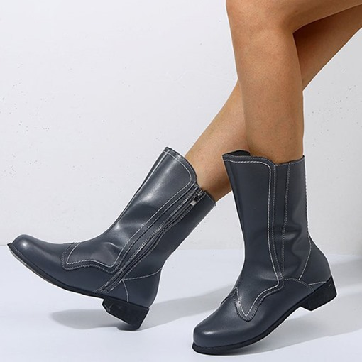 Round Toe Block Heel Plain Side Zipper Casual Boots