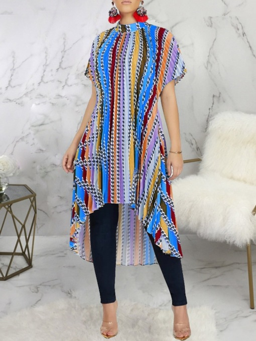 Stripe Regular Asymmetric Stand Collar Long Women's Blouse