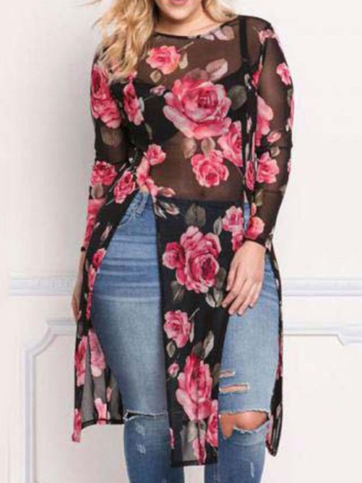 Round Neck Long Sleeve Floral Long Fall Women's T-Shirt