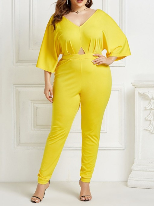 Fashion Full Length Plain Mid Waist Women's Jumpsuit