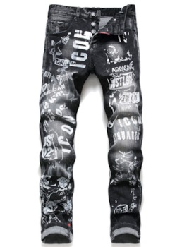 Straight Letter Print Mid Waist Full Length Men's Jeans