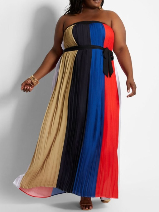 Sleeveless Patchwork Floor-Length Color Block Women's Dress