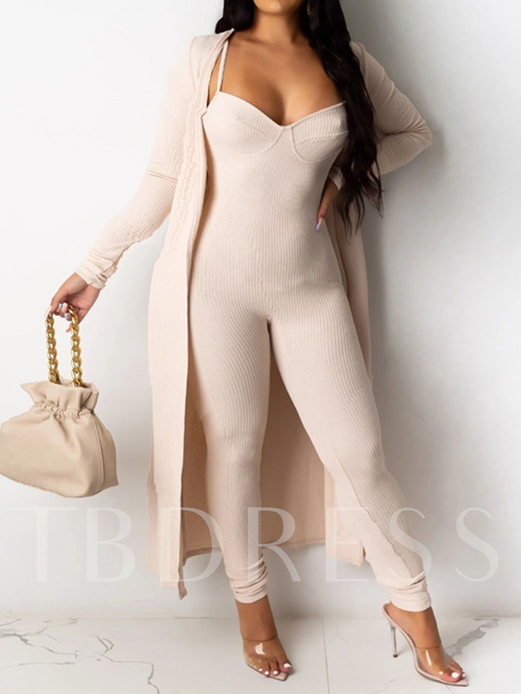 Plain Trench Coat Fashion Pencil Pants Women's Two Piece Sets