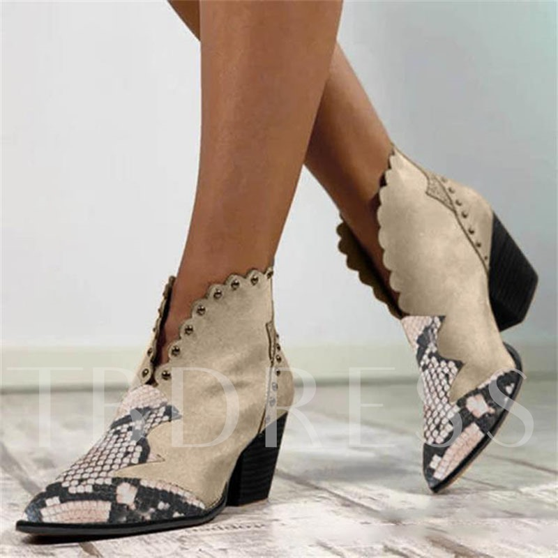 Pointed Toe Slip-On Chunky Heel Patchwork Casual Boots