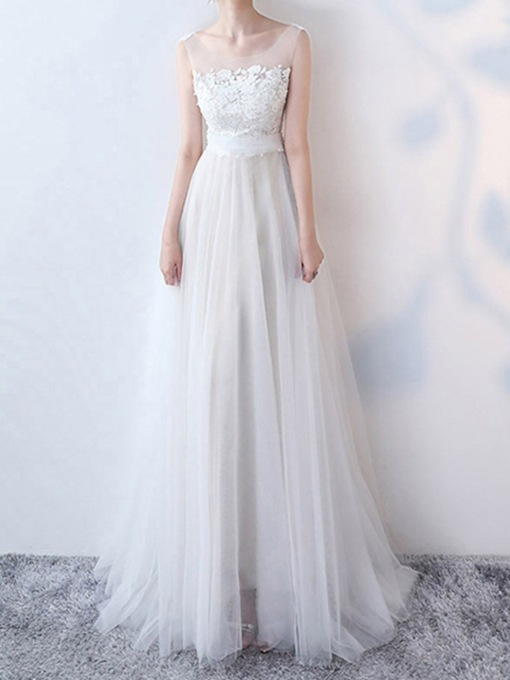 A-Line Bowknot Floor-Length Scoop Hall Wedding Dress 2020