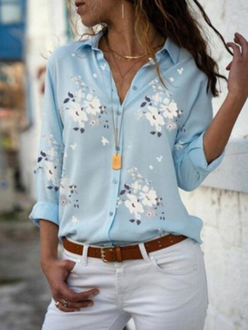 Lapel Regular Print Floral Long Sleeve Women's Blouse