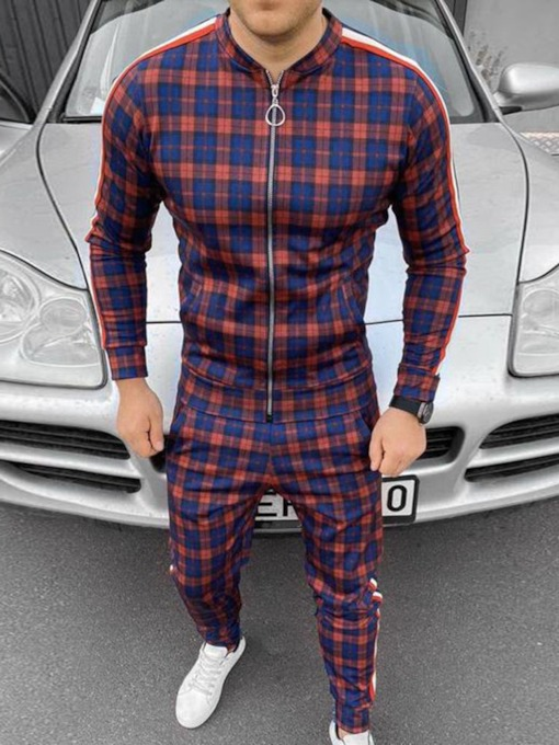 Patchwork European Pants Plaid Spring Men's Outfit