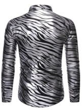 Casual Lapel Zebra Stripe Print Single-Breasted Men's Shirt
