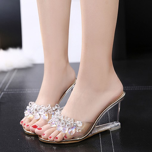 Wedge Heel Flip Flop Beads Slip-On Korean Slippers