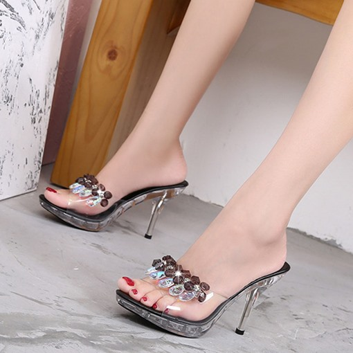 Stiletto Heel Rhinestone Flip Flop Slip-On Korean Slippers