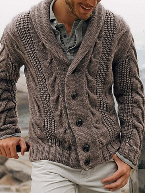 Lapel Plain Standard Slim Men's Sweater