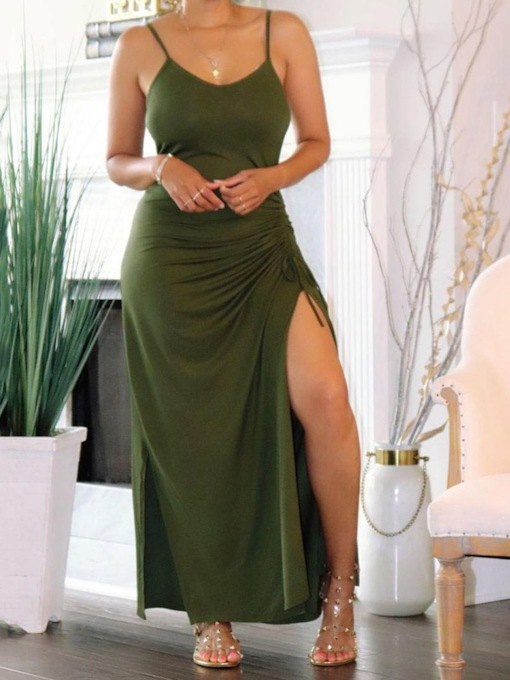 Pleated Sleeveless Ankle-Length Bodycon Women's Dress