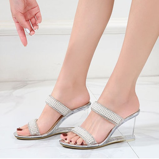 Flip Flop Rhinestone Slip-On Wedge Heel Korean Slippers
