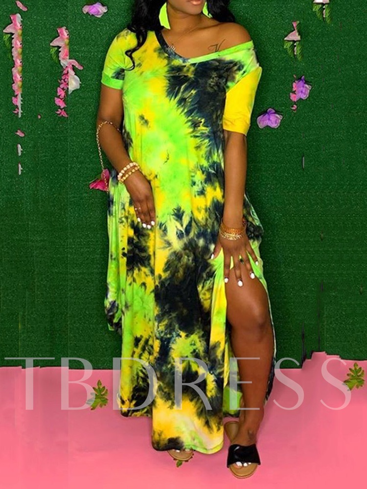 Floor-Length Tie-Dye Short Sleeve V-Neck A-Line Women's Dress