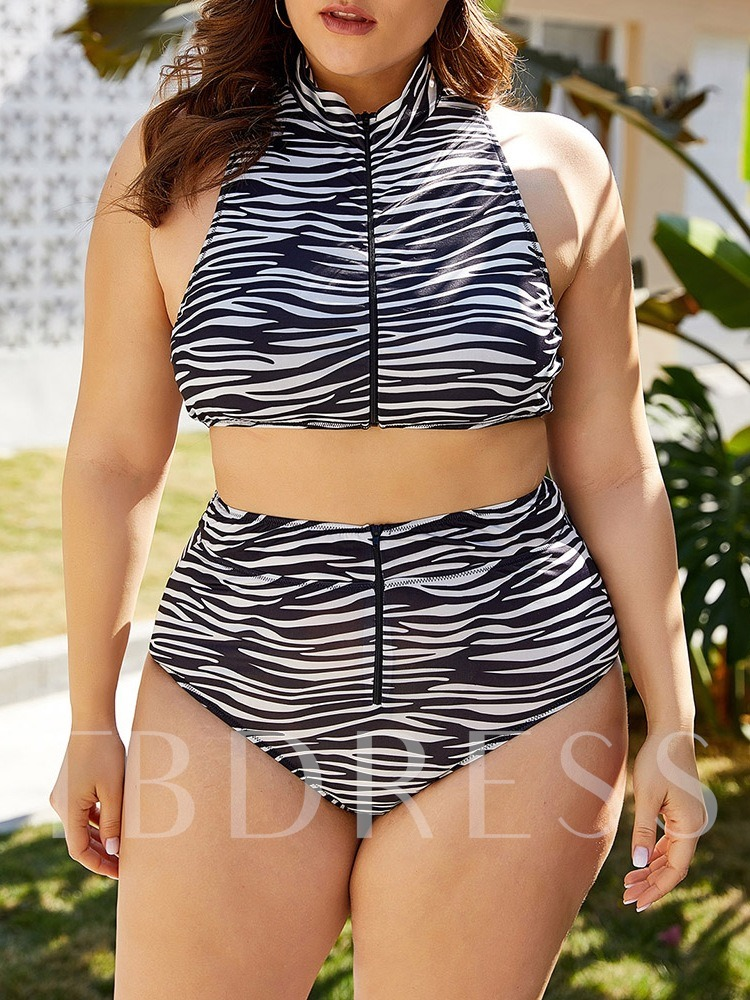Zebra Stripe Tankini Set Women's Swimwear