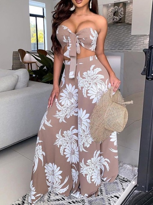 Vest Fashion Print Floral Wide Legs Women's Two Piece Sets
