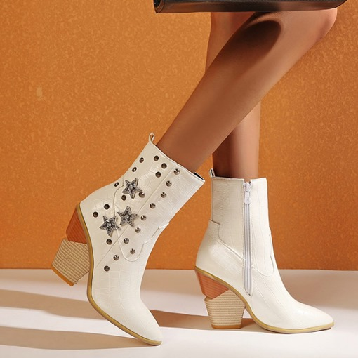 Side Zipper Chunky Heel Star Pointed Toe Rhinestone Boots