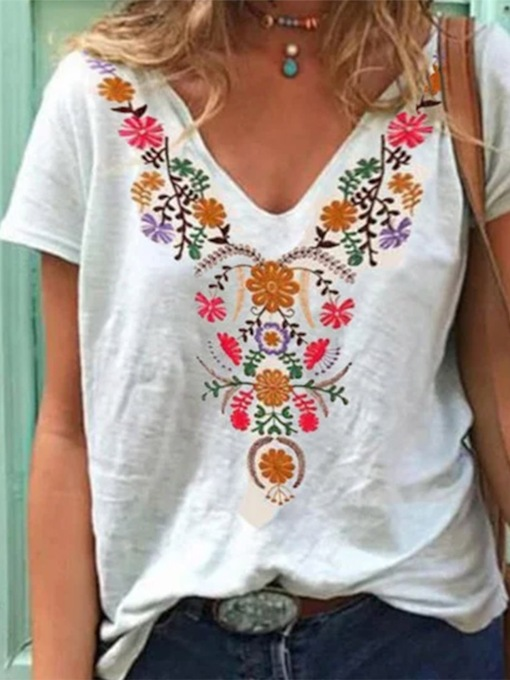 V-Neck Short Sleeve Floral Mid-Length Casual Female's T-Shirt