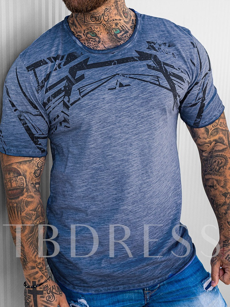 Casual Print Scoop Round Neck Short Sleeve Men's T-shirt