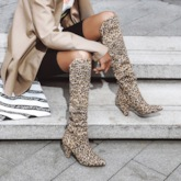 Pointed Toe Slip-On Leopard Boots