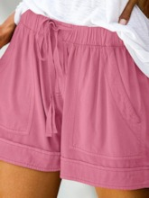 Plain Pocket Mid Waist Women's Shorts