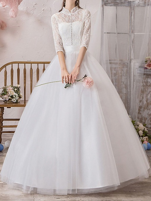 Floor-Length Lace Three Quarter Sleeve Garden Wedding Dress