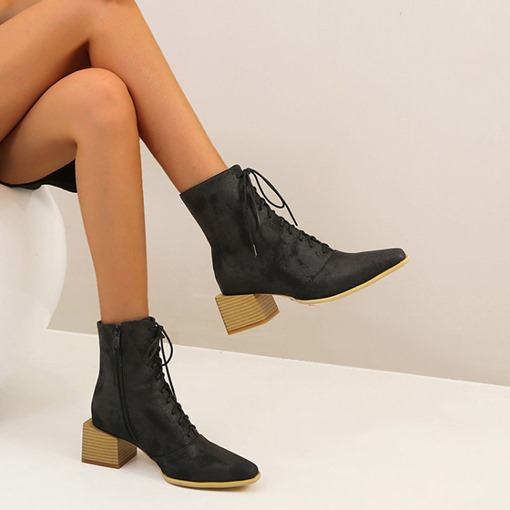 Plain Pointed Toe Block Heel Side Zipper Zipper Boots