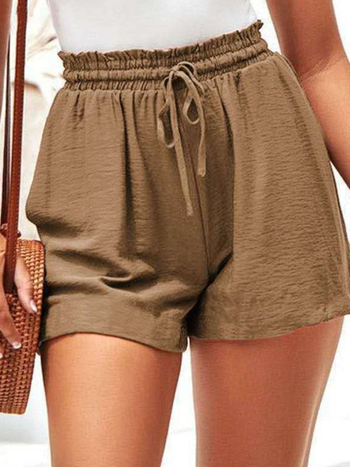Lace-Up Plain Lace-Up Women's Shorts