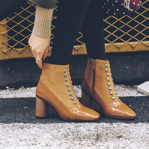 Side Zipper Pointed Toe Plain Chunky Heel Zipper Boots