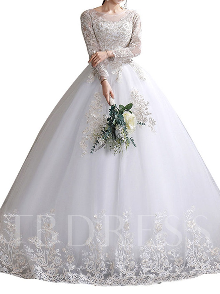 Floor-Length Appliques Hall Ball Gown Wedding Dress 2020